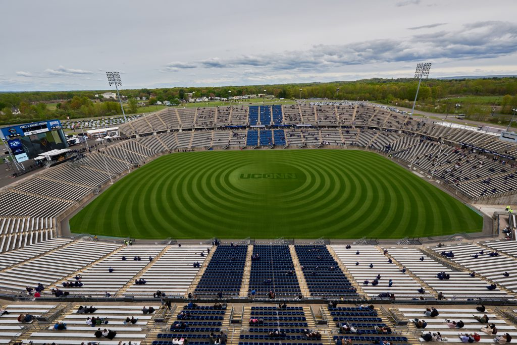 A view of Pratt & Whitney Stadium at Rentschler Field in East Hartford during the Class of 2020 Commencement ceremony on May 8, 2021. (Peter Morenus/UConn Photo)