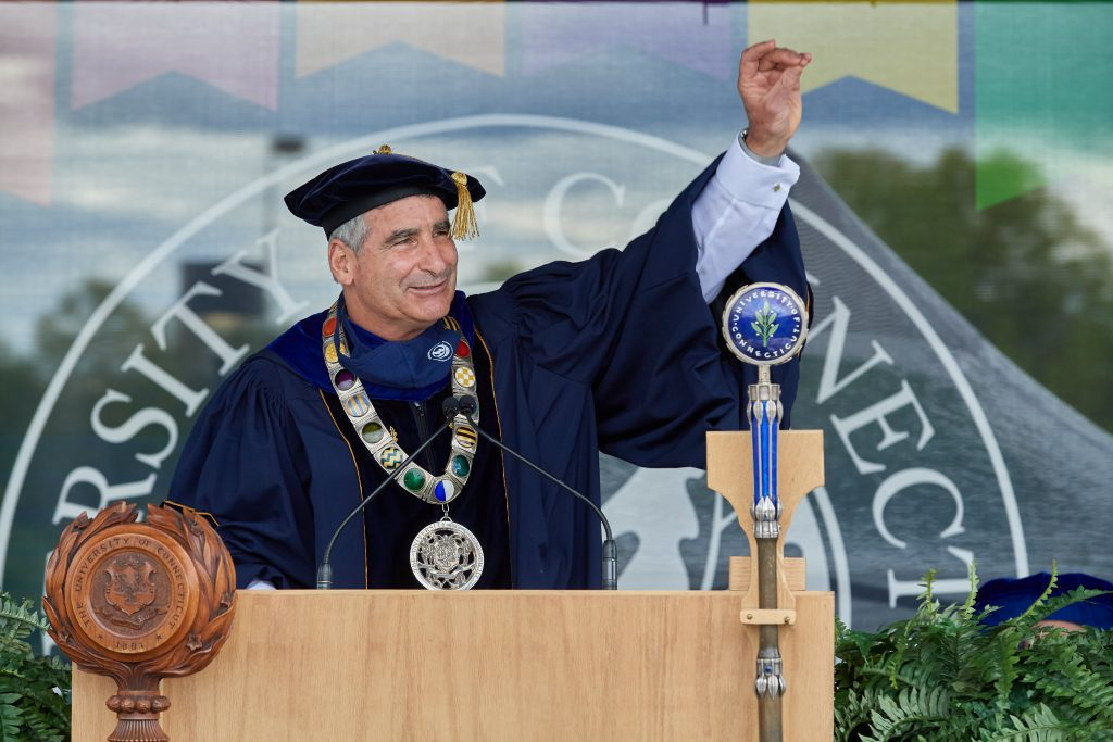 President Thomas Katsouleas speaks during the Class of 2020 Commencement ceremony at Pratt & Whitney Stadium at Rentschler Field in East Hartford on May 10, 2021. (Peter Morenus/UConn Photo)