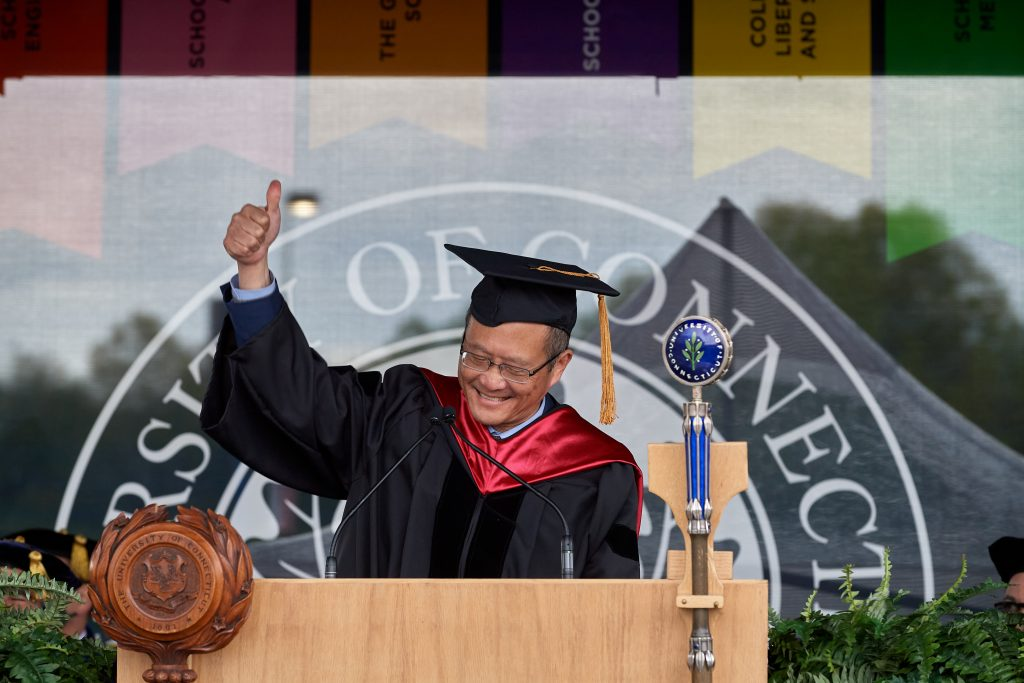 Bruce Liang, dean of medicine, speaks during the Commencement ceremony for Doctoral, Pharm. D., Pharmacy B.S., Law, and UConn Health graduates at Pratt & Whitney Stadium at Rentschler Field in East Hartford on May 8, 2021. (Peter Morenus/UConn Photo)