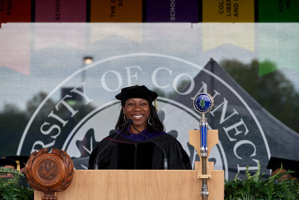 Eboni Nelson, dean of law, speaks during the Commencement ceremony for Doctoral, Pharm. D., Pharmacy B.S., Law, and UConn Health graduates at Pratt & Whitney Stadium at Rentschler Field in East Hartford on May 8, 2021. (Peter Morenus/UConn Photo)