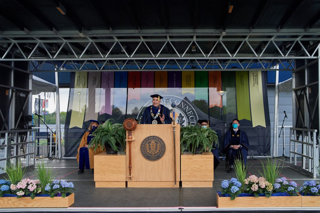 President Thomas Katsouleas speaks during the Commencement ceremony for Doctoral, Pharm. D., Pharmacy B.S., Law, and UConn Health graduates at Pratt & Whitney Stadium at Rentschler Field in East Hartford on May 8, 2021. (Peter Morenus/UConn Photo)