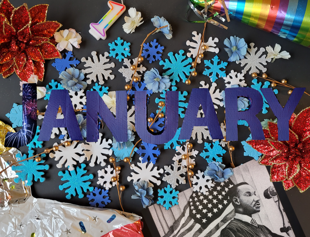 Tash Archibald '21 SFA, whose concentration in art was in illustration/animation, designed a calendar themed assemblage as her senior project. She used party hats, snowflakes and a portrait she drew of Dr. Martin Luther King Jr. to illustrate January. Assemblage Design by Tash Archibald.