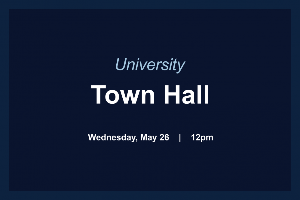 Town Hall graphic with text, date, time