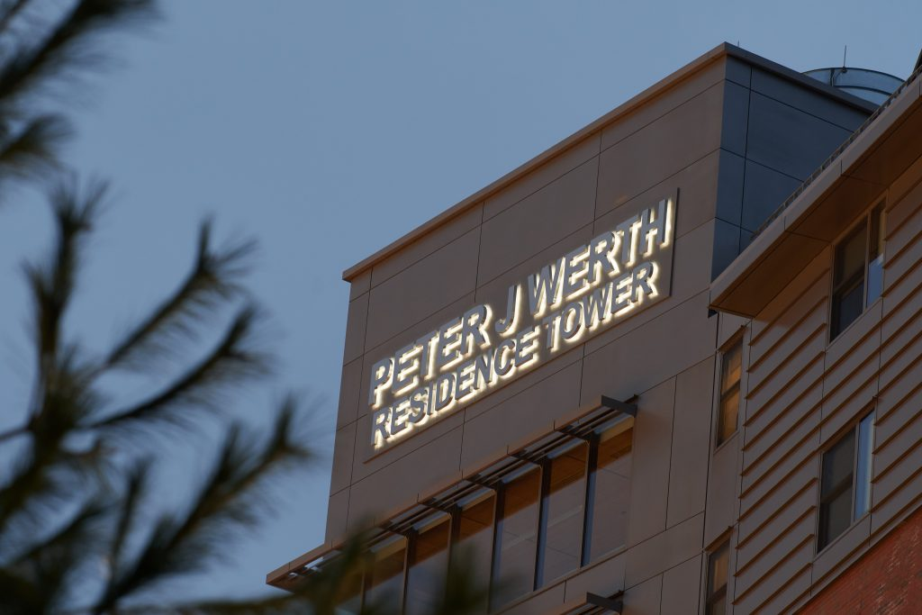 The exterior of the Werth Tower building at dusk. David Bruno, resident venture builder at the Werth Institute, helps students become entrepreneurs.