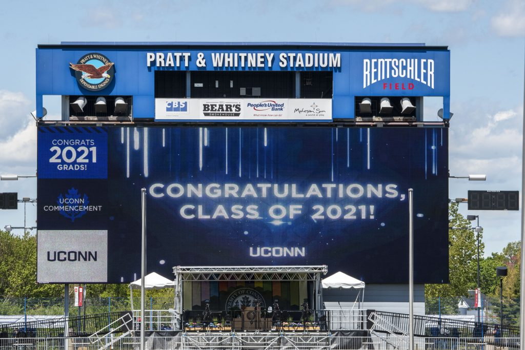 """Rentschler field video board with """"Congratulations, Class of 2021!"""" message"""
