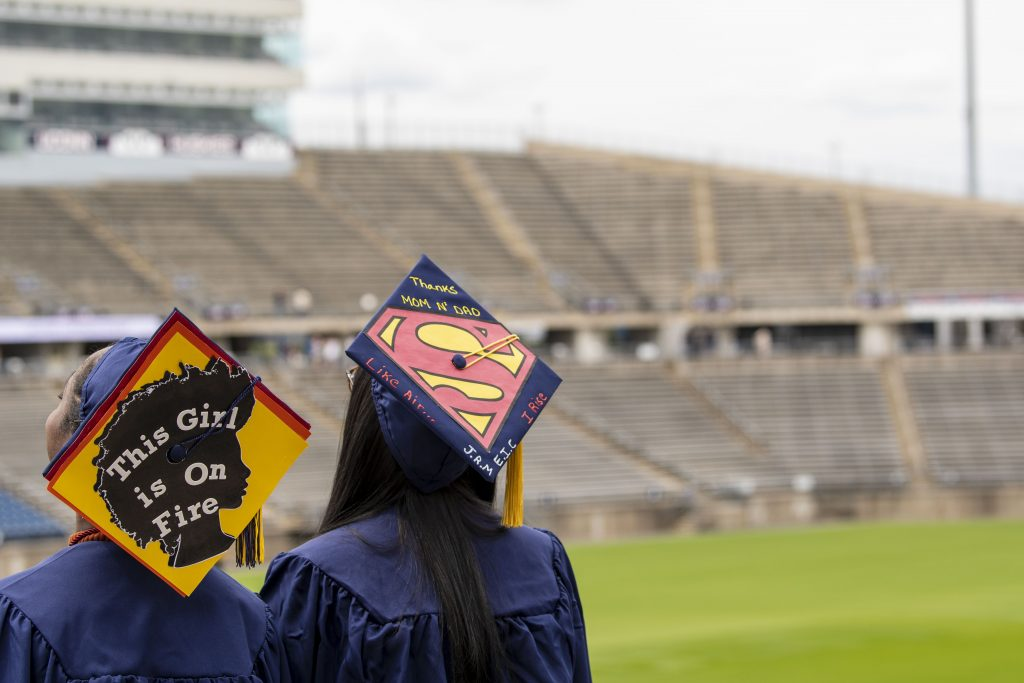 Decorated mortarboards at the 2020 Commencement ceremony at Pratt & Whitney Stadium, Rentschler Field on May 8, 2021. (UConn photo/Sean Flynn)