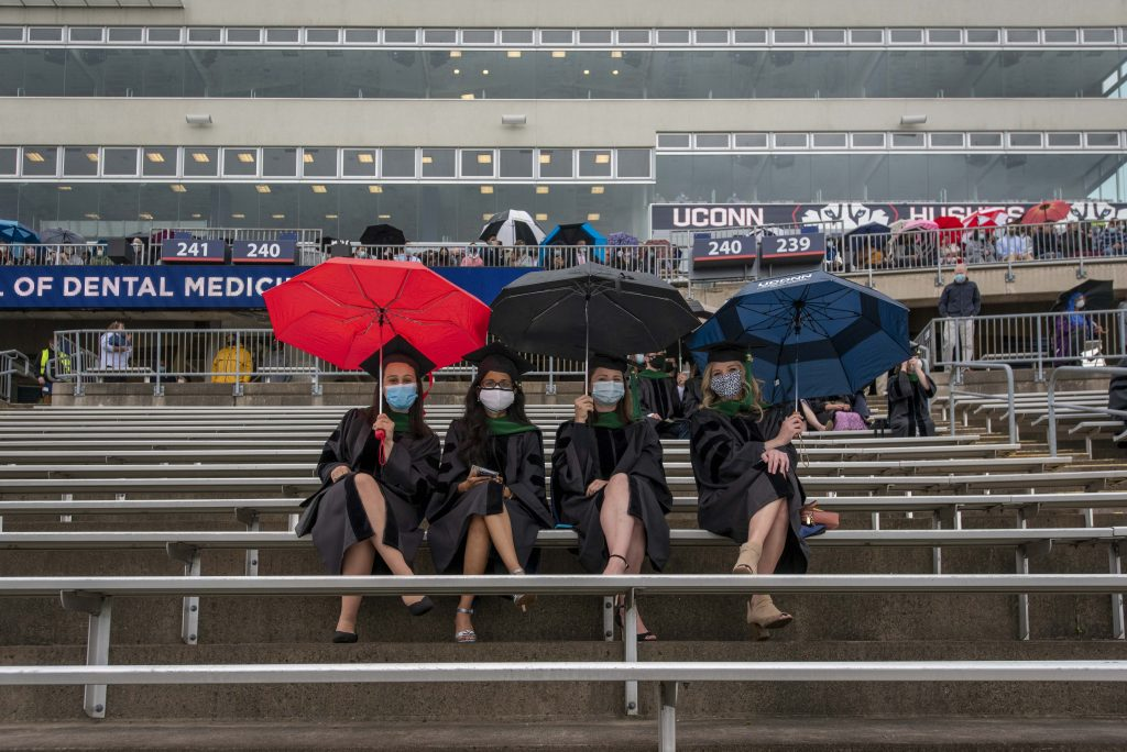 School of Medicine students at the 2021 Commencement ceremony at Pratt & Whitney Stadium, Rentschler Field on May 8, 2021. (UConn photo/Sean Flynn)