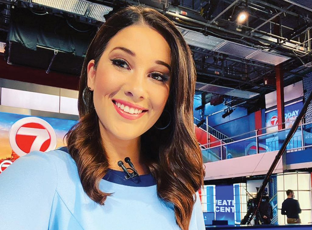 Juliana Mazza reporting the morning news at WHDH 7 in Boston.