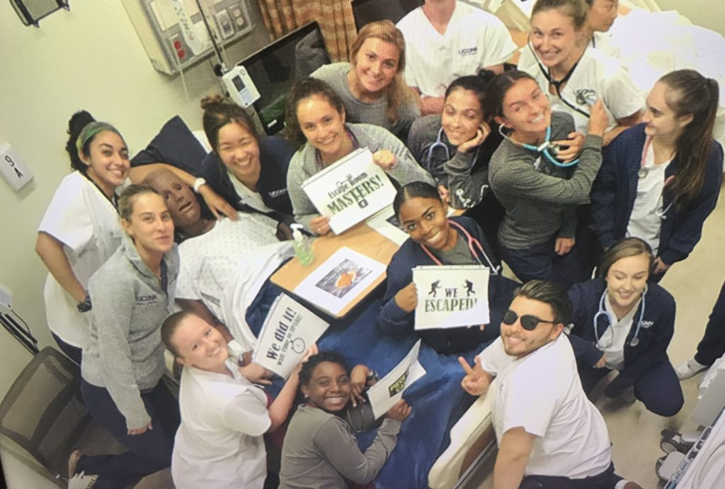 UConn nursing students participating in an escape room exercise in the School of Nursing's Clinical Simulation Learning Center (contributed photo).