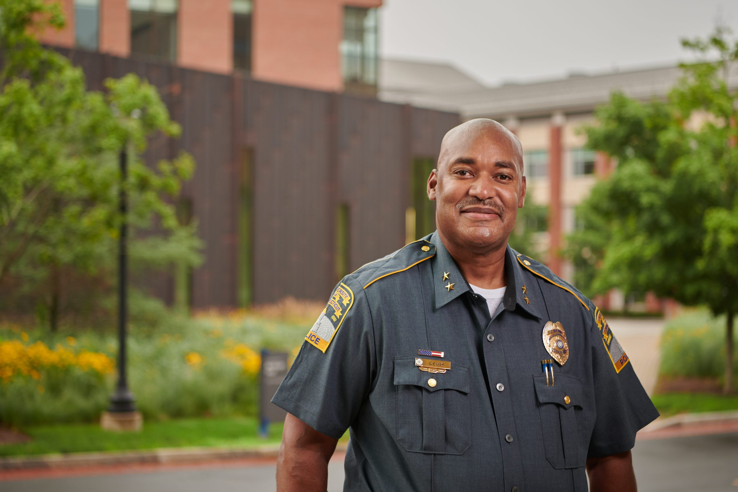 Gerald Lewis, UConn chief of police, along Fairfield Way on July 19, 2021