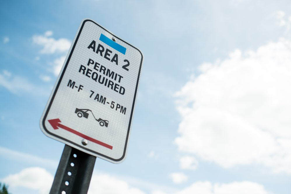 An area 2 parking sign at UConn.