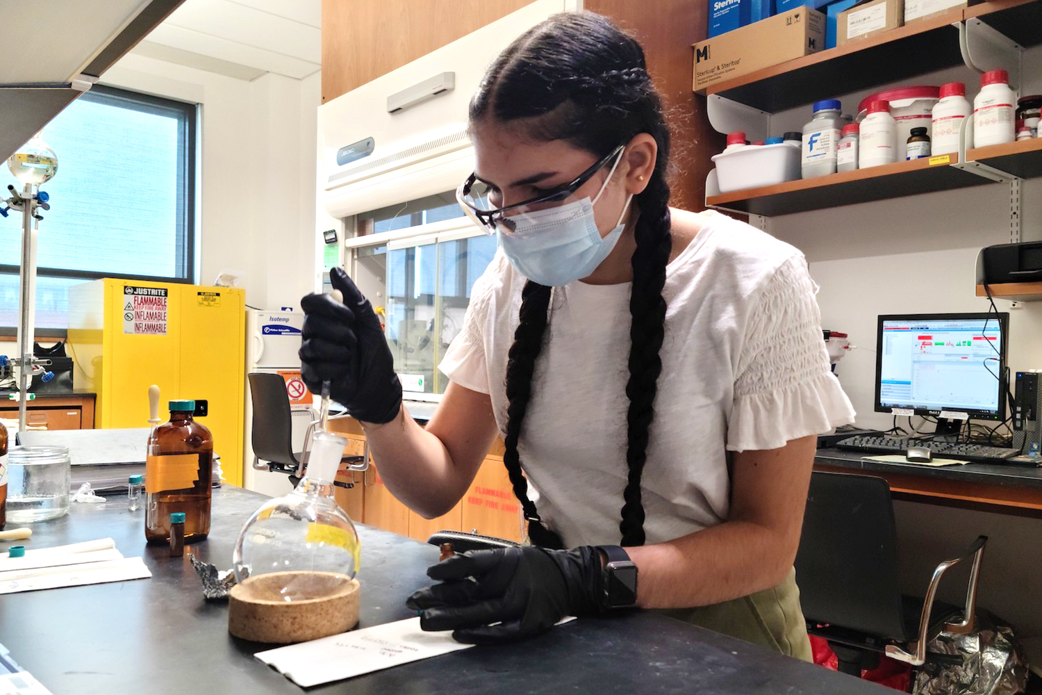 a girl working in a lab