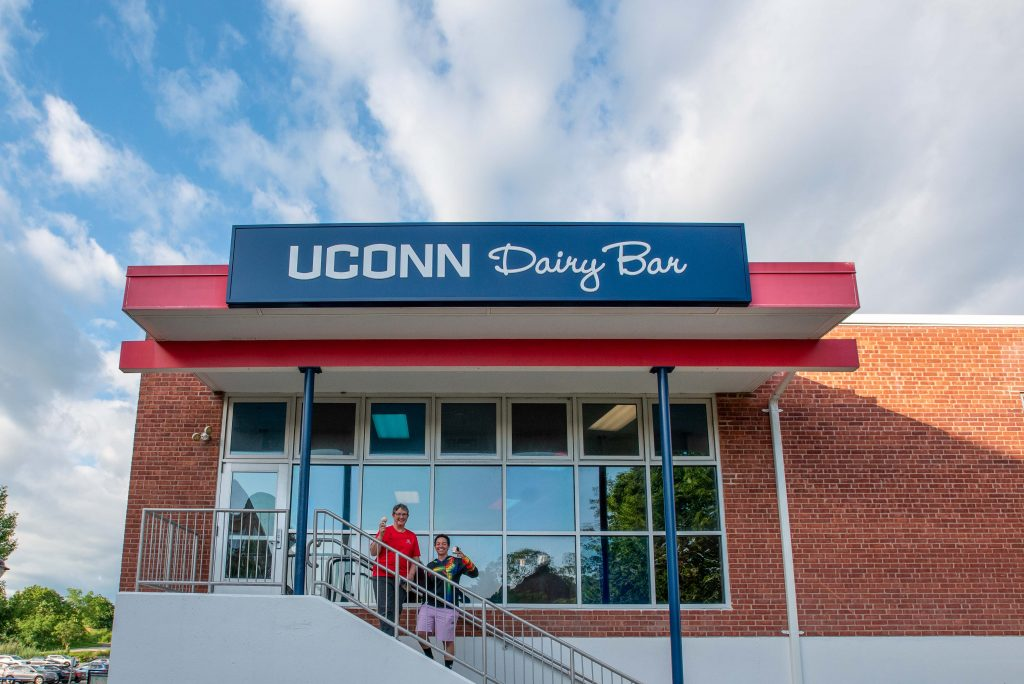 people standing outside the UConn Dairy Bar