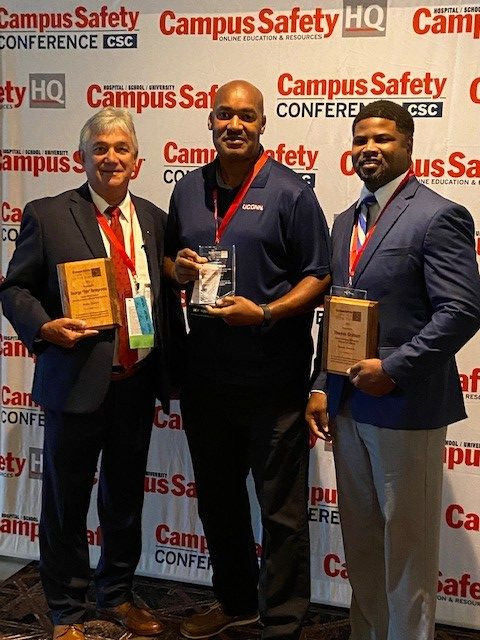 UConn Chief of Police Gerald Lewis, named the 2021 Campus Safety Director of the Year by Campus Safety Magazine, along with the two runners-up at the San Antonio conference where he received the award.