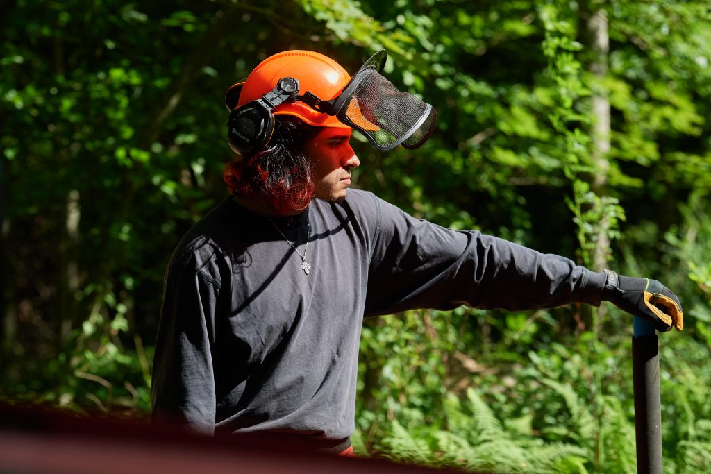 Jose Ayala '22 (CAHNR) looks on during logging in the Fenton Tract of the UConn Forest near Horsebarn Hill Road on Aug. 2, 2021. (Peter Morenus/UConn Photo)