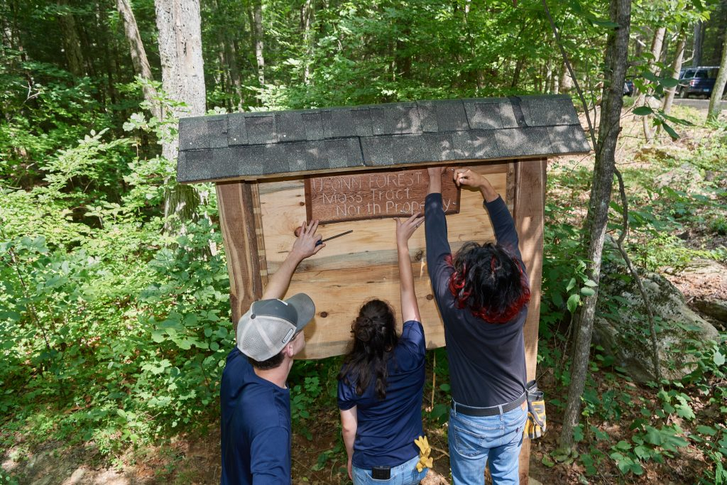 Eric Colleran '22 (CAHNR), left, Alexandra Pouliot '23 (CAHNR) and Jose Ayala '22 (CAHNR) erect a new sign for the Moss tract of the UConn Forest on Aug. 2, 2021. (Peter Morenus/UConn Photo)