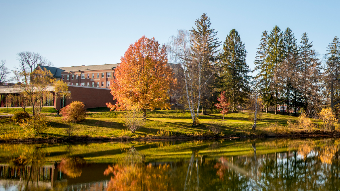 A view of Storrs Hall in the fall.