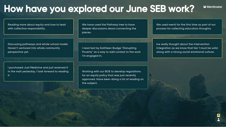 SEB Leader Academy participants answer the question: How have you explored our June SEB work?
