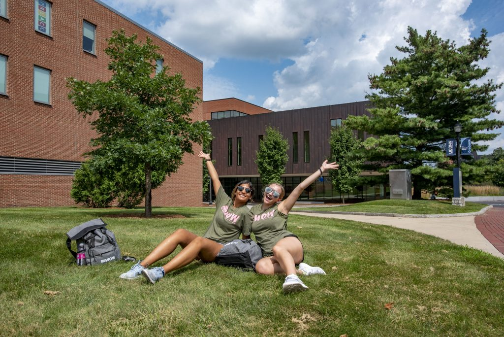 Students and parents during move-in-day on Aug. 27, 2021. (Sean Flynn/UConn Photo)