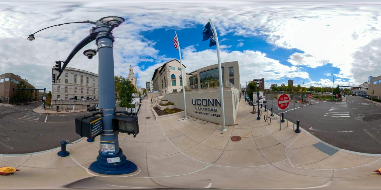 A panoramic view of the UConn Hartford campus. The Sustainable Global Cities Initiative at UConn Hartford aims to become a center of research and information-gathering on urban life in Connecticut and beyond.