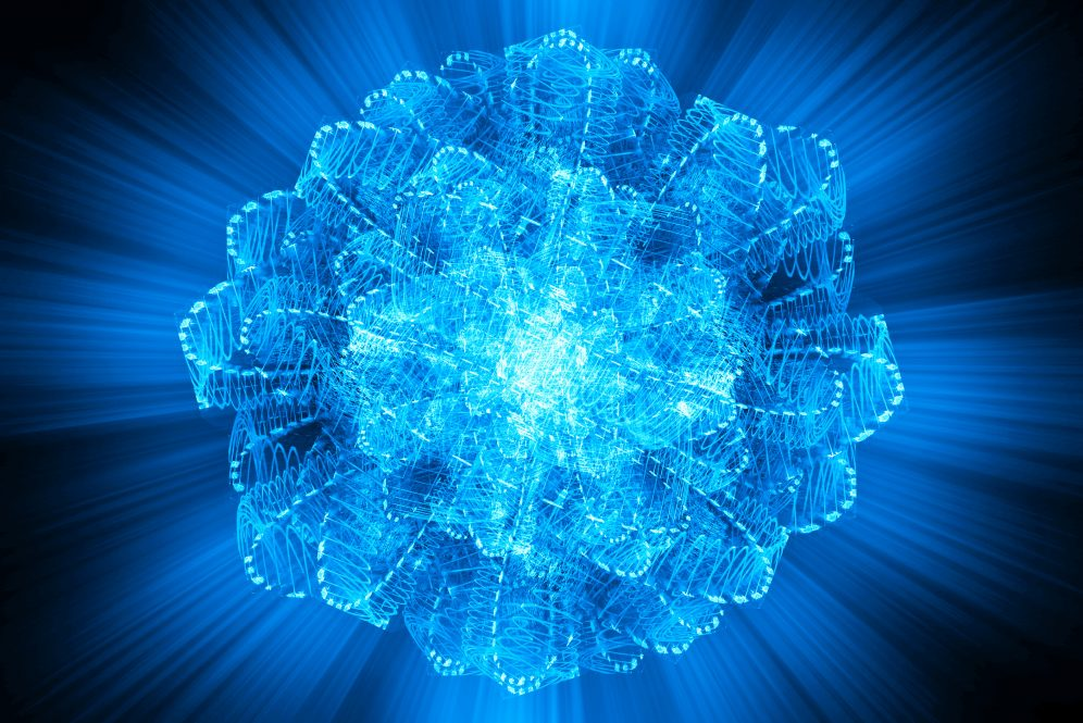 Nucleus of Atom Nuclear explode ray radiation light science concept abstract blur background.