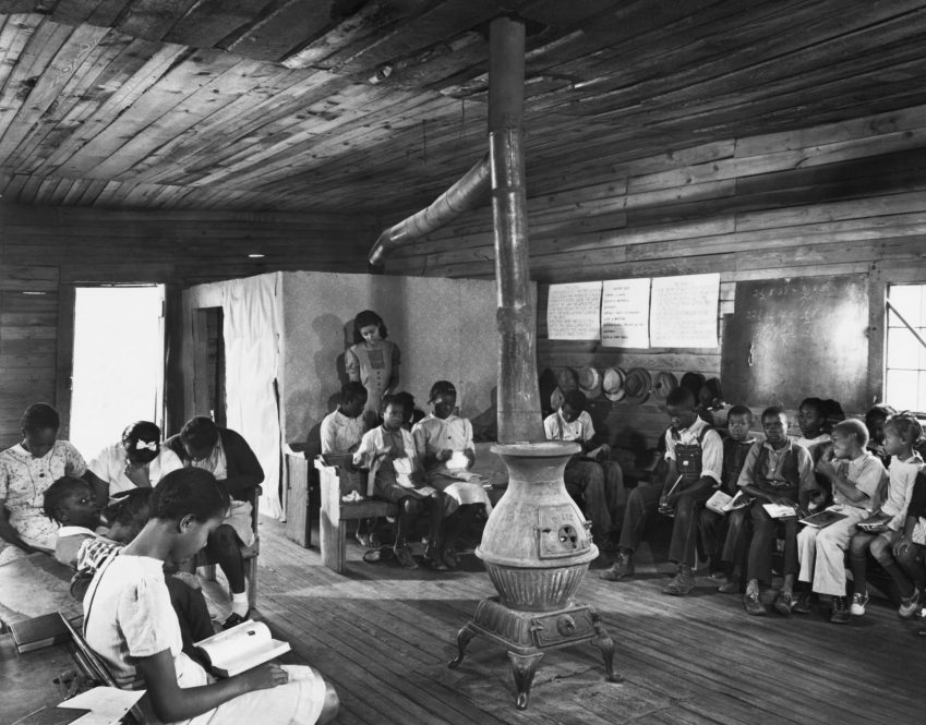 A one-room segregated schoolhouse in Georgia in 1941. Funding disparities that date from the Jim Crow era still affect predominantly Black schools today.
