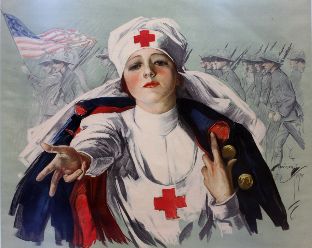 A historic poster depicts a nurse reaching toward the viewer.