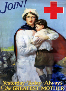 A Red Cross poster depicts nurses.