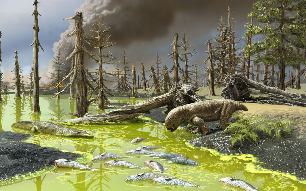 An artist's rendering of the conditions during the End-Permian Mass Extinction, which wiped out nearly all life on earth.