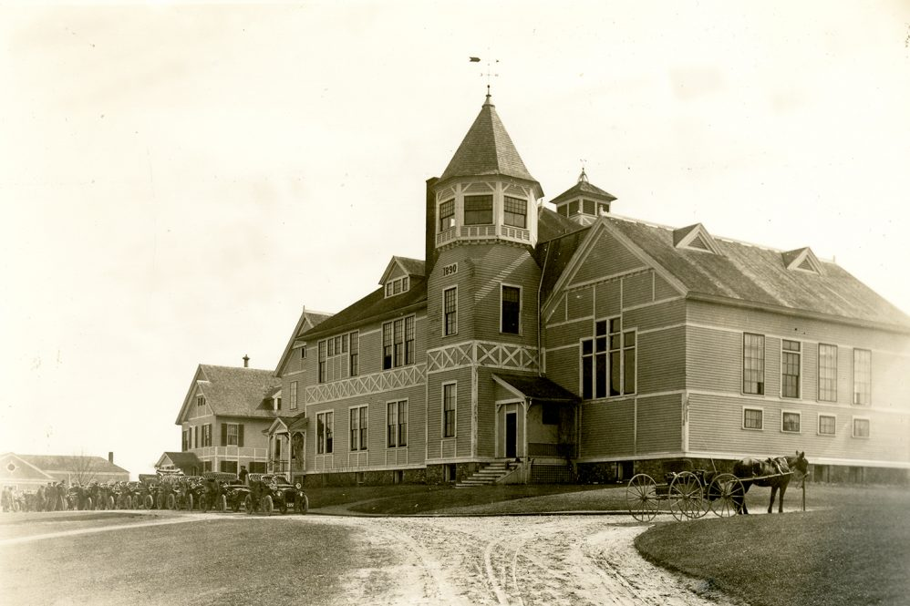 The main administration building at Storrs Agricultural School, which later became known as 'Old Main.' Located roughly where Wilbur Cross stands today, Old Main was razed in 1927.