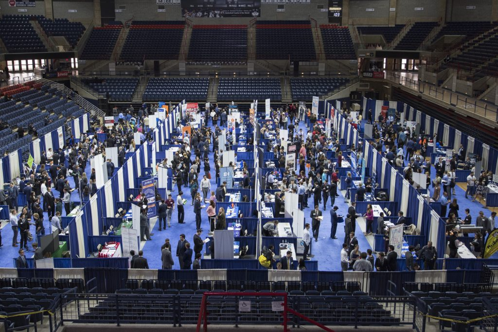 After more than two years, UConn will host an in-person career fair, like this one from 2017. But virtual options and other pandemic-related changes will remain.