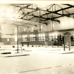 An undated photo shows the interior of Hawley Armory, which was built in 1914 and has served as everything from a basketball arena to a venue for commencement (Department of Archives & Special Collections/UConn Library).