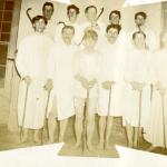 """Students in an undated photo, having just taken part in a """"pajama parade"""" on campus (Department of Archives & Special Collections/UConn Library)."""