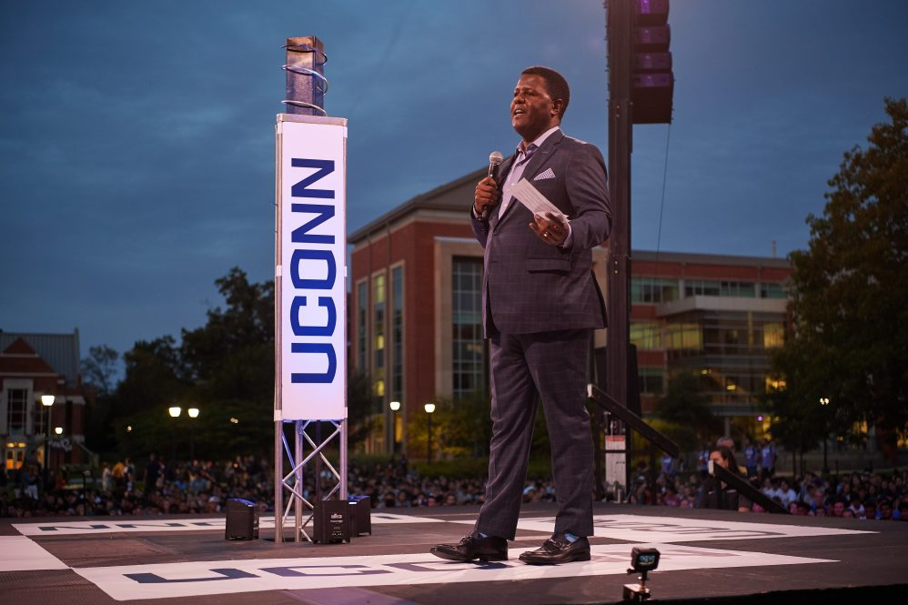 Vern Granger, director of undergraduate admissions, speaks during the Convocation ceremony on the Student Union Mall on Aug. 23, 2019.