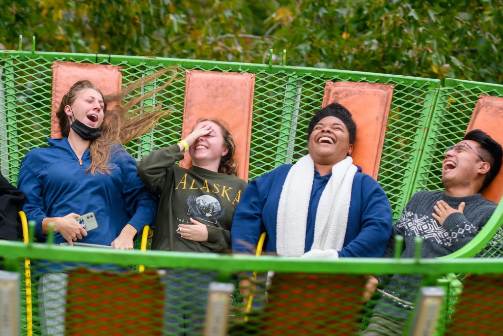 Students and families attend the Homecoming Carnival during Family Weekend on Oct. 10, 2021.