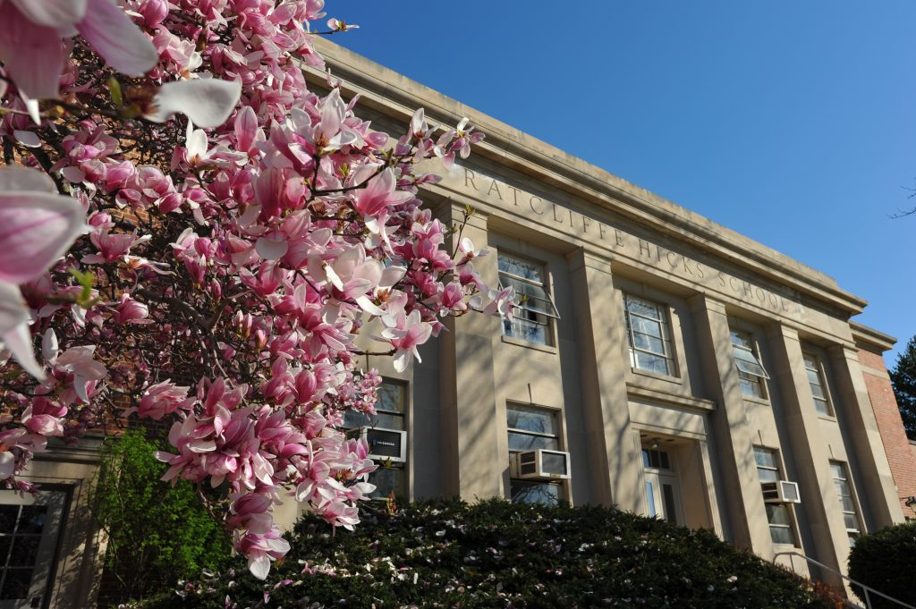 A magnolia tree blossoming outside the Ratcliffe Hicks School of Agriculture, where a new program for Native students will be launched.